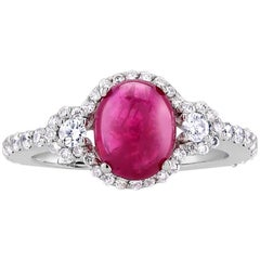 18k White Gold Halo Cabochon Ruby 2.15 Carat Diamond Cluster Ring