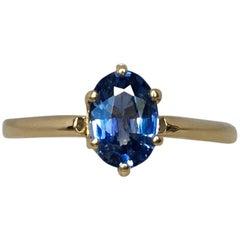 Ceylon 1.07 Carat Vivid Blue Oval Cut Sapphire Solitaire Gold Ring