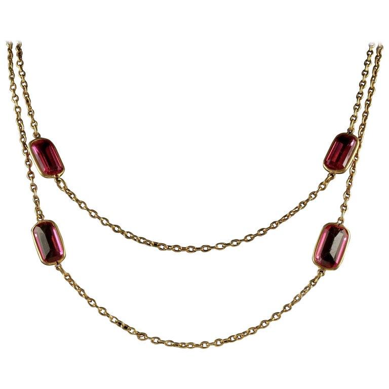 Antique Victorian Guard Chain Pink Paste Necklace, circa 1900