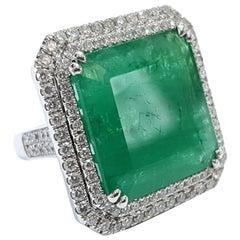 GIA 22.23 Carat Emerald 2.00 Carat Round White Diamond 18 Karat White Gold Ring