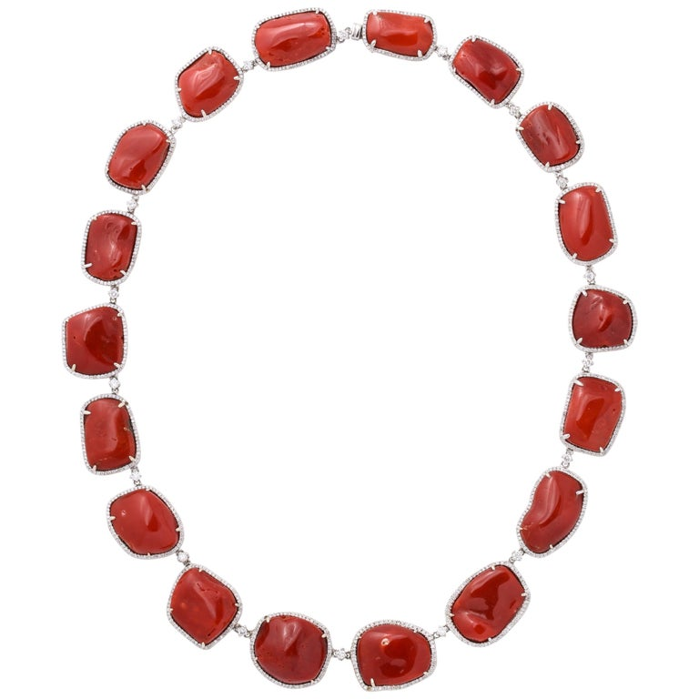Coral Diamond Gold Necklace