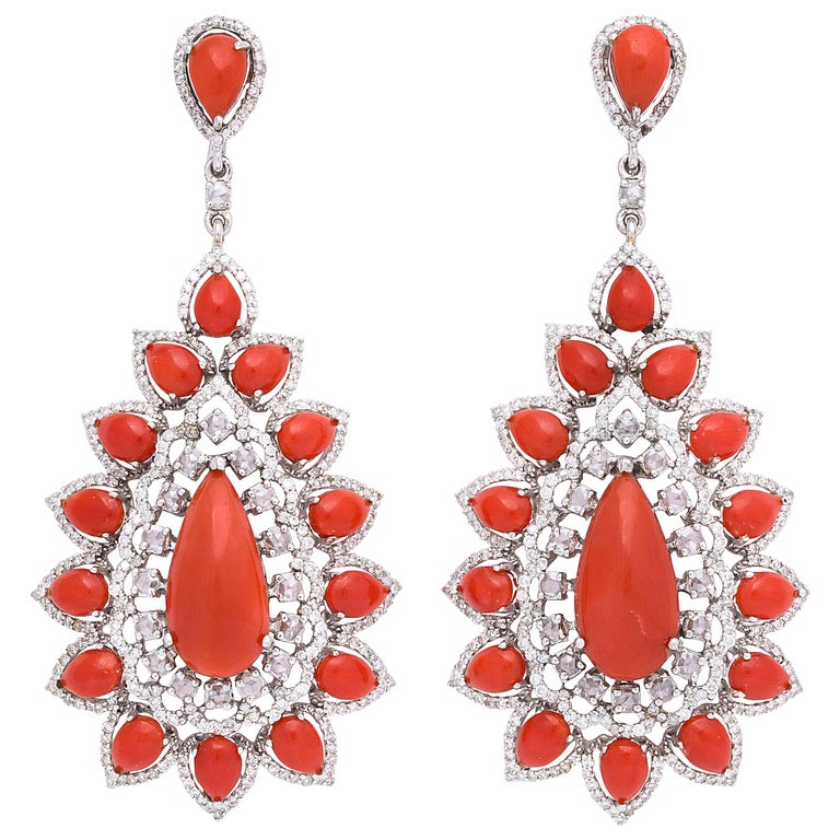 Coral Diamond Gold Drop Earrings For Sale