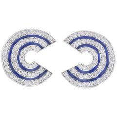 Diamond and Enamel Earrings 3.28 Carat
