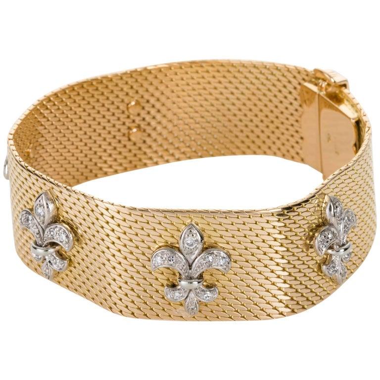 18 Karat Yellow Gold and Diamond Fleur-de-Lis Flexible Bracelet