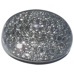 Diamond and Rock Crystal 18 Karat Gold Bombe Ring