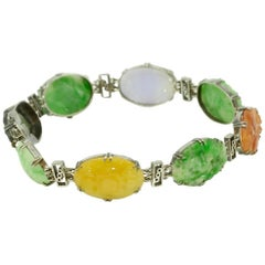 1930s Multicolored Carved Jade 9k White Gold Bracelet Bangle, Liberty & Co