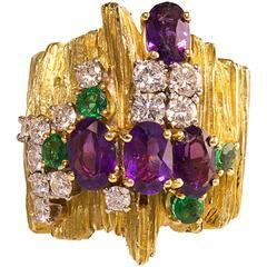 Henry Dunay Emerald Amethyst Diamond Gold Ring