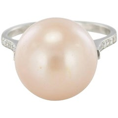 New South Sea Pink Cultured Pearl Diamond White Gold Ring