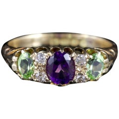 Antique Suffragette Ring Diamond Amethyst Peridot Victorian, circa 1900