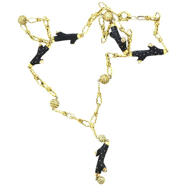 18 Karat Antique Ebony and Diamond Necklace For Sale