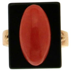 Onyx Coral Gold Cocktail Ring