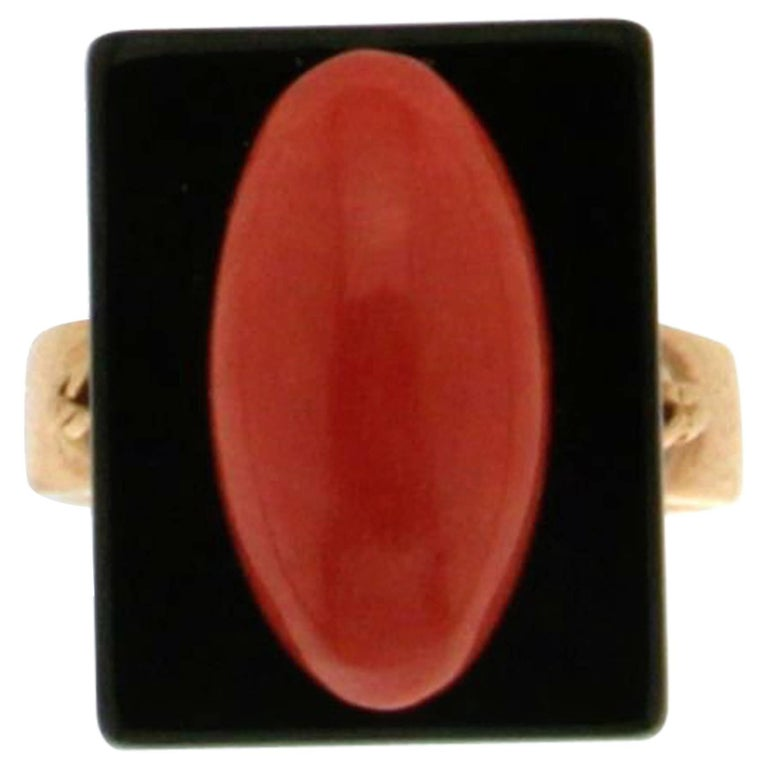 Onyx Coral Gold Cocktail Ring For Sale
