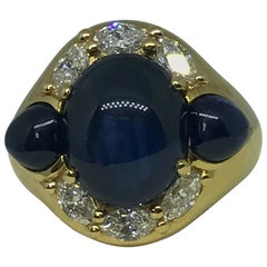 Cabochon Sapphire and Diamond 1990s 18 Karat Gold Dress Ring