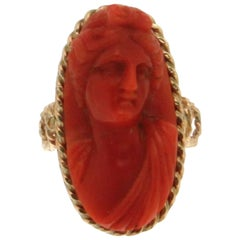 Antique Coral Gold Ring