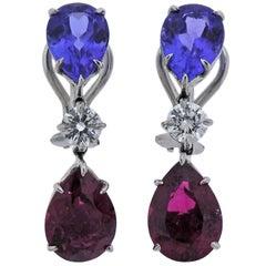 Donna Vock Pink Tourmaline Tanzanite Diamond Platinum Drop Earrings