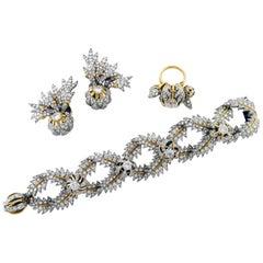 Diamond Plat+18KY Gold Earrings, Ring, Bracelet Set, by Jean Schlumberger