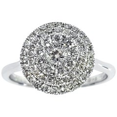 1.00 CT Round Cut Cluster 18 KT White Gold Double Halo Diamond Ring