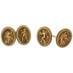 Etruscan Revival Engraved Double Sided Cufflinks