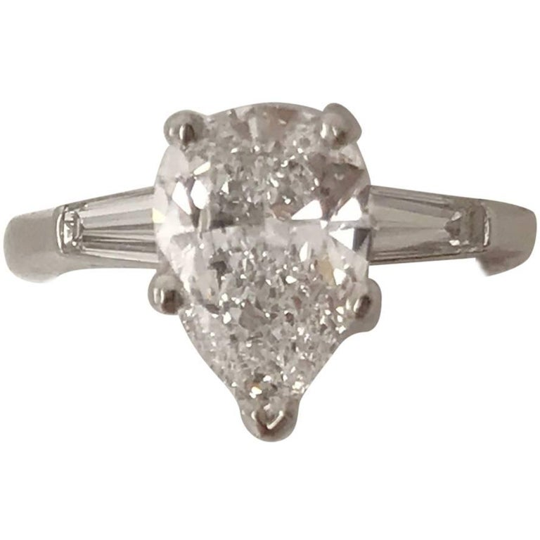 Colorless, 2.08 Carat GIA Certified Pear Shape Platinum Engagement Ring