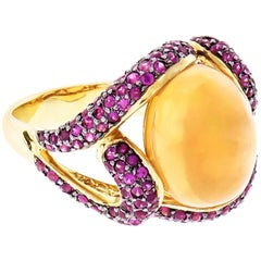 5.00 Carat Oval Crystal Opal Ruby Swirl Gold Cocktail Ring