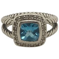 Vintage Petite Albion Blue Topaz and Diamond Ring by David Yurman