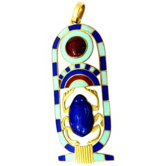Extraordinary Detail Large Enamel Gold Egyptian Revival Kartouche Pendant Charm