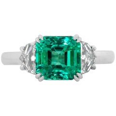 GIA Certified 2.72 Carat Emerald and Diamond Platinum and Gold Ring