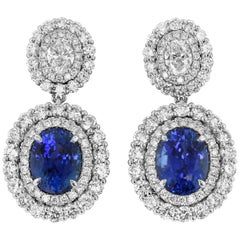 GRS Certified Sapphire Diamond and White Gold Drop Earrings