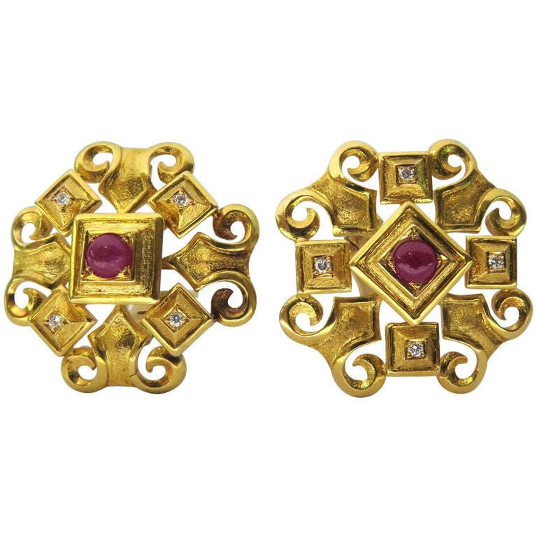 Exquisite Ilias Lalaounis Ruby Diamond Timeless Byzantine Gold Clip-On Earrings