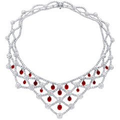 Invisible Net Design Burma Ruby and Diamond Necklace