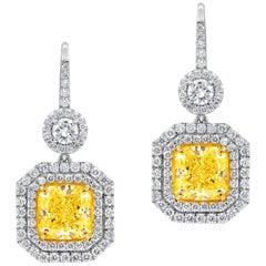 GIA Certified Dangling Natural Fancy Yellow Halo Diamond Earrings