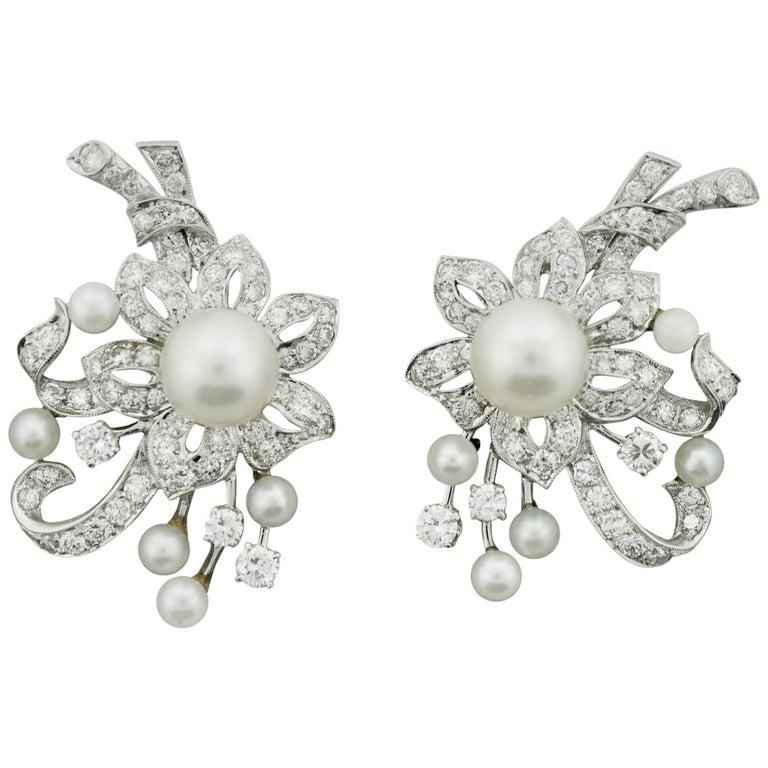 1950s Platinum Diamond and Pearl Handmade Earrings