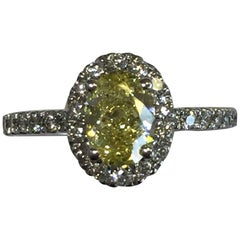 Fancy Intense Yellow Diamond Oval Ring