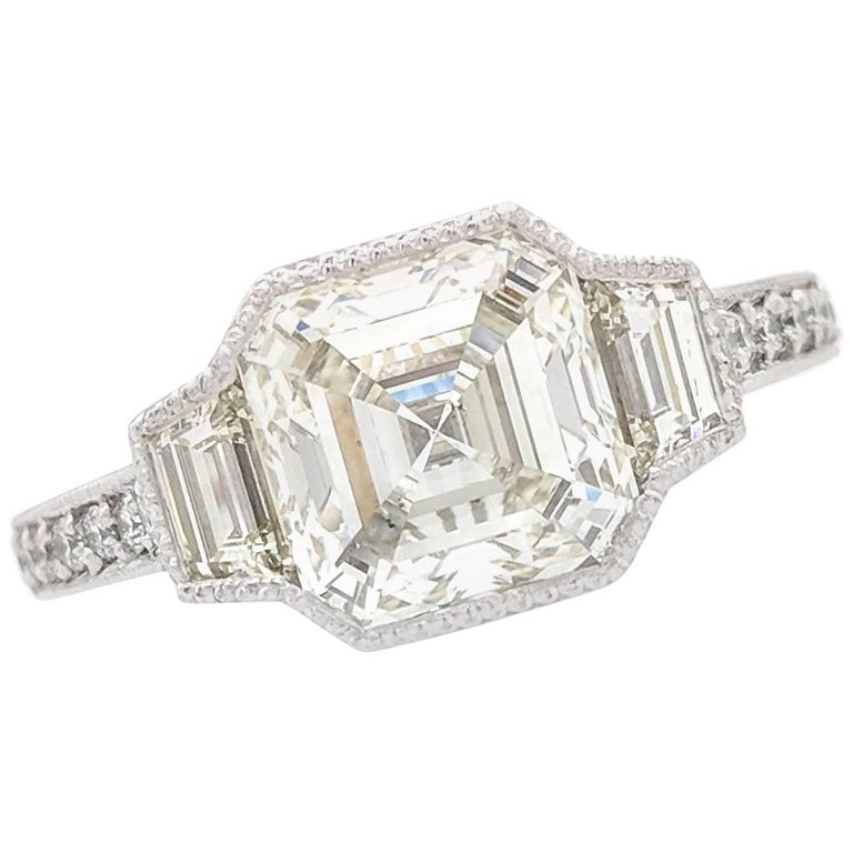 2.51Ct Squared Emerald Cut Natural Diamond Engagement Ring GIA Certified SI1/K