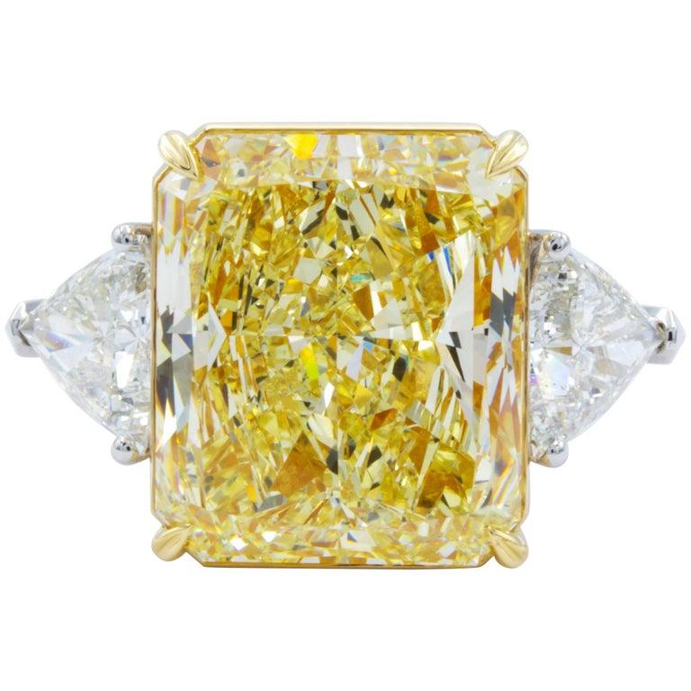 David Rosenberg 15.34 Carat Radiant GIA Fancy Light Yellow Diamond Platinum Ring