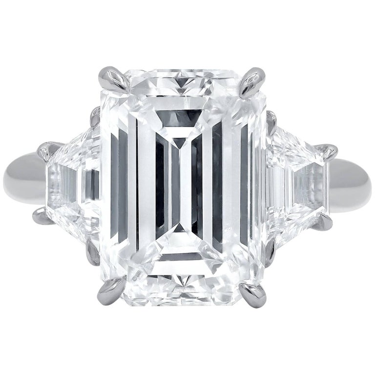 GIA Certified 4.83 Carat H-VS1 Emerald Cut Diamond Ring