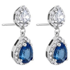 18k White Gold Halo Pear Shape Sapphire Diamond Drop Earrings