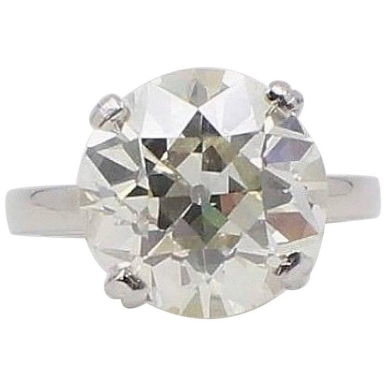 Old European Diamond Engagement Ring 9.04 Carat Platinum