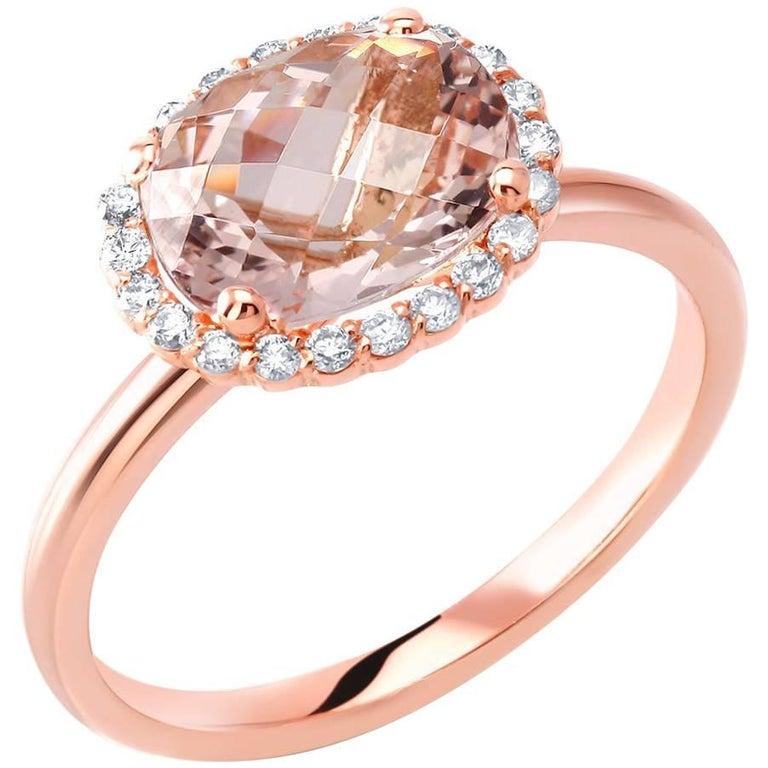 Rose Gold Morganite Diamond Cluster Cocktail Ring