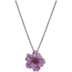 Pink Sapphire, Ruby and Rubellite Flower Necklace