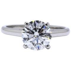 DeBeers Round Brilliant Diamond Engagement Ring 2.05 Carat H VS2 Platinum