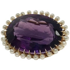 Edwardian Amethyst and Seed Pearls Gold Brooch, 22.97 Carats