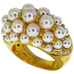 Cartier Pearl Diamond 18 Karat Yellow Gold Andromaque Ring