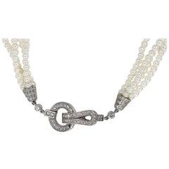 Cartier Diamonds Pearl 18 Karat White Gold Agrafe Necklace