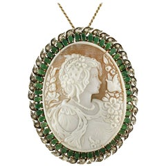 Cameo Emeralds  Diamonds Rose Gold Silver Pendant