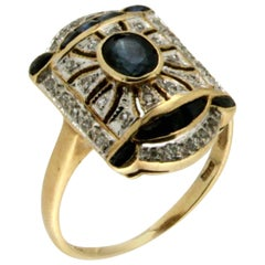Sapphire Gold Diamonds Cocktail Ring