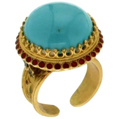Turquoise Yellow Gold Cocktail Ring