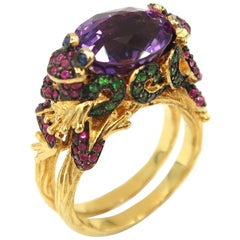 Frog Prince 7.10 Carat Amethyst Pink Sapphire Tsavorite Gold Cocktail Ring