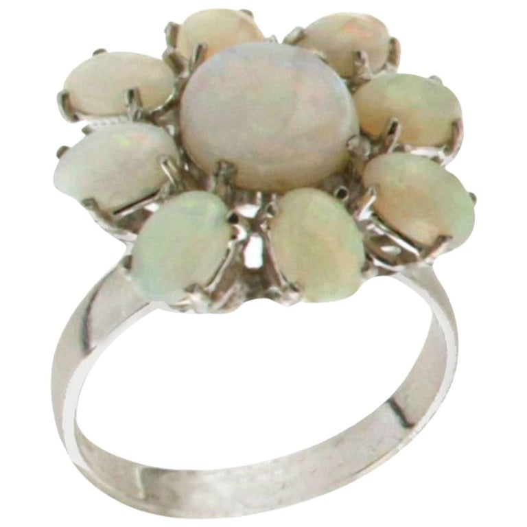 Opal 18 Carat White Gold Cocktail Ring