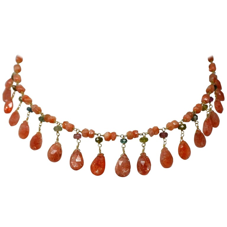 Dancing Apsara Gold Sunstone and Tourmaline Drop Bead Necklace